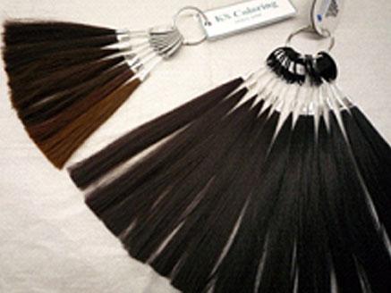 ここで希望のモデル(デザイン)、接着方法、髪型、髪質、髪色、毛長、毛量等を指示しなくてはいけません。カラーリングサンプルやネット見本を見ながら決めていきます。  髪色はユーザーからヘアーサンプルを切り取って製作することも可能ですが、人工毛は色染めしにくいので、よくユーザー様との相談が必要になります。